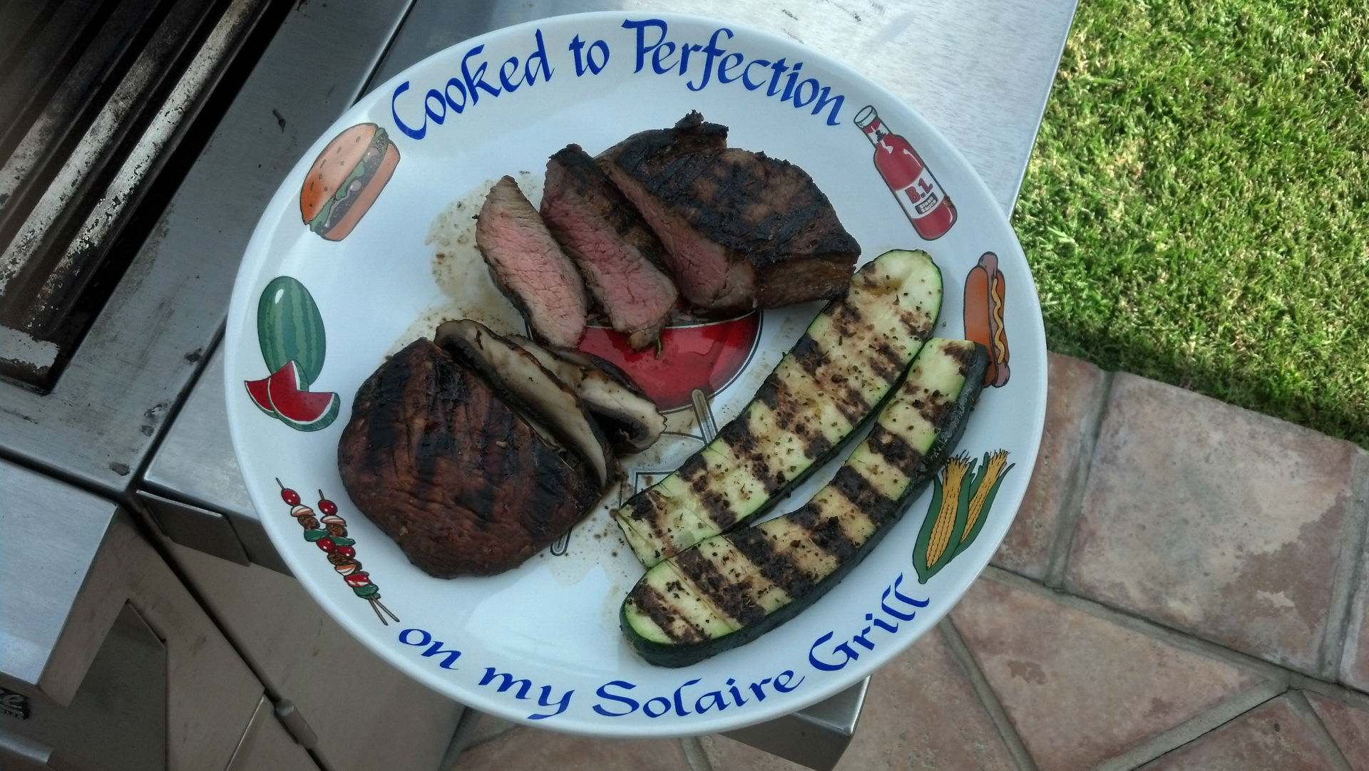 finished sous vide steaks with perfect grill marks